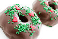 Doughnut gourmet chocolate covered decorated as a christmas wreath Stock Photography