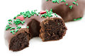 Doughnut gourmet chocolate covered decorated as a christmas wreath Stock Image