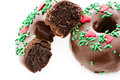Doughnut gourmet chocolate covered decorated as a christmas wreath Royalty Free Stock Photography