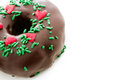 Doughnut gourmet chocolate covered decorated as a christmas wreath Royalty Free Stock Photos