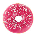 Doughnut in pink glazed isolated on white Stock Image