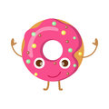 Doughnut with Pink Sprinkles Funny Happy Character
