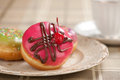 Doughnut on a plate close up Royalty Free Stock Photos
