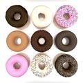 9 Doughnut on White Background