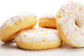 Doughnuts against white background closeup photo Royalty Free Stock Photography