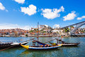 Douro river and traditional boats in porto portugal Royalty Free Stock Photo