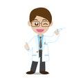 Doutor showing syringe Imagens de Stock