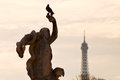 Dove antique statue tuileries garden eiffel tower paris Stock Photo