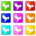 Dove carrying envelope icons 9 set