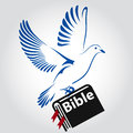 Dove flying with a Symbol of Religion. Bible Book. Dove Of Peace. Vector illustration.