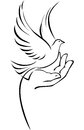 Dove on hand graphic drawing of a a holding as a symbol of peace love help or pure spirit Royalty Free Stock Photography