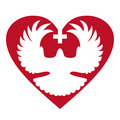Dove in heart with cross Stock Photos