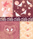 Dove and heart pattern background Stock Photos
