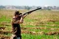 Dove hunter takes aim a man for hunting season september st thru the th in yuma az Royalty Free Stock Image