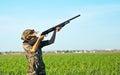 Dove hunting boy Royalty Free Stock Photo
