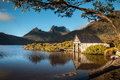 Dove lake cradle mountain tasmania australia wooden boat shed at at dawn Stock Photography