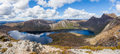 Dove lake panorama and Cradle Moutain on bright sunny day. Royalty Free Stock Photo
