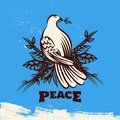 Dove with Olive Branch Peace Symbol Illustration Royalty Free Stock Photo