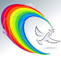 Dove and Peace - Abstract Rainbow Pencil Series Stock Photo