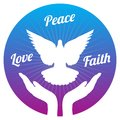 Dove peace flying from hands in sky. Love, freedom and religion faith vector concept Royalty Free Stock Photo