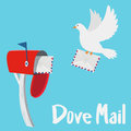 Dove sending a letter to a red mail box