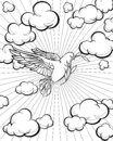 Dove in the sky coloring page. Bible story