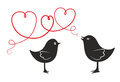 Dove two birds in love as decorative element with hearts Royalty Free Stock Images