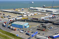 Dover ferry port english channel of in kent and lorry traffic Stock Photo