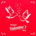 Doves with hearts isolated on red background