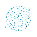 Doves and pigeons set in a circle for peace concept and wedding design. Flying blue birds sketch set. Vector Royalty Free Stock Photo