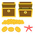 Dower chest isolated cartoon icons and pile of gold coins.