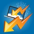 Down chart laptop screen cloud failure crisis business economy strike Royalty Free Stock Photo