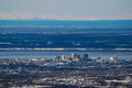 Down town anchorage a view of downtown alaska from high above the city Royalty Free Stock Photography