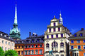 Down town stocholm architecture of old sweeden Royalty Free Stock Photo