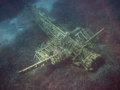 Downed plane in the bottom of aegean sea a german from nd world war alimia bay near heraklia island greece Royalty Free Stock Photos