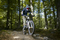 Downhill mountain bikers Royalty Free Stock Image