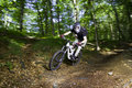 Downhill mountain bikers Royalty Free Stock Images