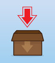 Download box with large arrow Royalty Free Stock Images