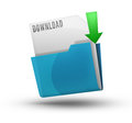 Download icon folder with a blue folder green arrow and white file isolated on a white background Royalty Free Stock Photo