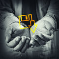 Download icon open hands of a man with file Royalty Free Stock Photos