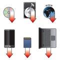 Download icon set Stock Image