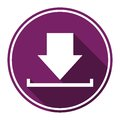 Download icon, Upload button, Load symbol with long shadow