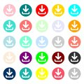 Download icon. Upload button. Load symbol. Round colourful 11 buttons. Vector