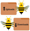 Download upload by bees two one holding an folder while the other holds a folder Royalty Free Stock Photography