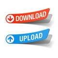 Download and upload labels Stock Image