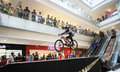 Downmall cyclist spurred his bike in national championship race in hartono mall sukoharjo central java indonesia Royalty Free Stock Photos
