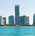 Downtown abu dhabi a panorama photo of uae along the corniche road Royalty Free Stock Photography