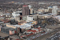 Downtown albuquerque editorial aerial of buildings and train station in new mexico Stock Photo