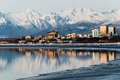 Downtown anchorage alaska and its reflection into cook inlet Royalty Free Stock Photography