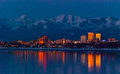 Downtown anchorage alaska after sunset Royalty Free Stock Photo